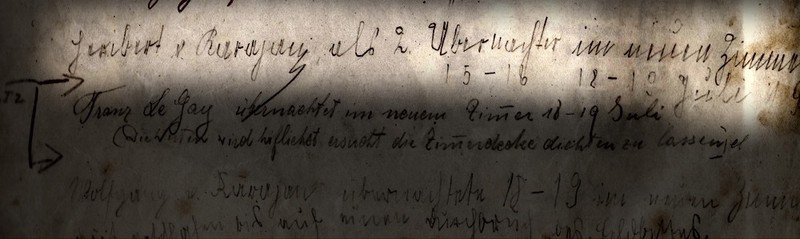 "1918: ""Heribert v. Karajan, als 2ter Übernachter im neuen Zimmer, 15-16, 18-19 Juli"""